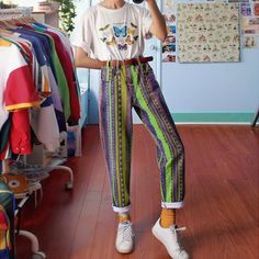 Women's Fashion Multicolor Striped Straight Pants - Women's Fashion Multicolor Striped Straight Pants – Fofront - Hippie Outfits, Retro Outfits, Vintage Outfits, Casual Outfits, Vintage Fashion, Vintage Style, Vintage Clothing, Retro Style Fashion, Funky Fashion