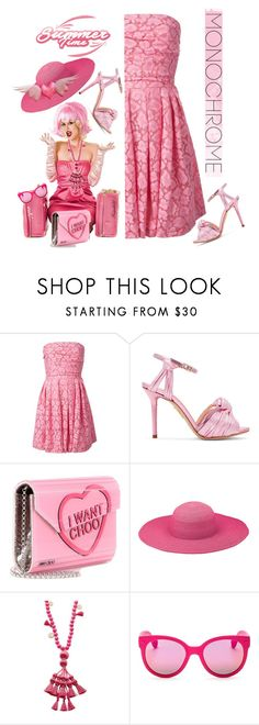 """""""Head to Toe, Pink"""" by ragnh-mjos ❤ liked on Polyvore featuring Moschino Cheap & Chic, Charlotte Olympia, Jimmy Choo, Peter Grimm, Kate Spade and Havaianas"""