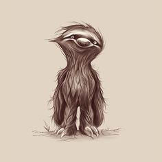 Sir Sloth Art Print by Dave Mottram Anime Art Fantasy, Sloth Drawing, Sloth Tattoo, Cute Sloth, My Spirit Animal, Creature Design, Cute Illustration, Cute Drawings, Pencil Drawings