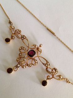 ct Diamond and Seed Pearl, Enamel and 15 ct Yellow Gold Necklace - Art Nouveau - Antique Circa Garnet Jewelry, Pearl Jewelry, Jewelry Art, Gold Jewelry, High Jewelry, Victorian Jewelry, Antique Jewelry, Vintage Jewelry, Artisan Jewelry
