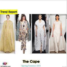 The Cape Trend for Spring Summer 2015. Tadashi Shoji, Vivienne Westwood, Vionnet, and Zac Posen#Spring2015 #SS15