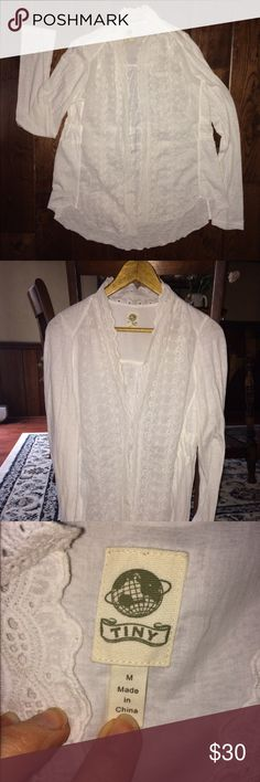 Anthropologie Eyelet Lace Cotton Open Front Top By Tiny, From Anthropologie! 100% Cotton, Eyelet Lace Detail along front, single hook and eye closure for front. Long sleeves. Waist can be cinched in back with two ties. Hand washed once, but never worn! Anthropologie Tops