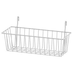 IKEA - OMAR, Clip-on basket, Transforms an unused area into a practical storage space for the small things you want to have close at hand.Easy to attach and remove. Wall Shelf Unit, Wall Shelves, Ikea Shelves, Wire Shelving, Adjustable Shelving, Shelving Units, Cube Storage, Storage Spaces, Storage Organizers