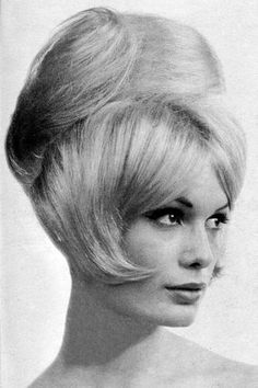 POUFFED HAIR-DO. Bundy parts the bangs in the center, brings sides smoothly over cheeks, & raises the crown into a smooth pouf- brushed up in back. From Hair Trends Winter 1964 (minkshmink) 1960s Hair, Wig Hat, Beehive Hair, Hair Creations, Retro Hairstyles, Hair Photo, Hairspray, Bad Hair, Hair Trends