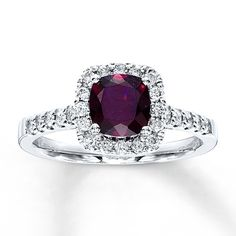 Garnet Ring Cushion-Cut with Diamonds 10K White Gold Stock Number 372989309 Kay Jewelers