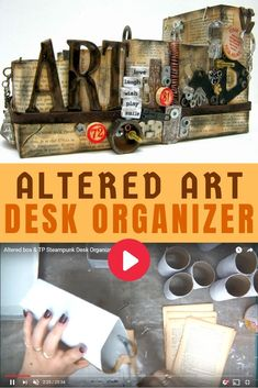 How to make an altered art desk organizer from tp rolls! Craft Projects For Adults, Easy Craft Projects, Crafts For Kids, Craft Tutorials, Art And Craft Videos, Diy Arts And Crafts, Diy Crafts, Altered Boxes, Altered Art