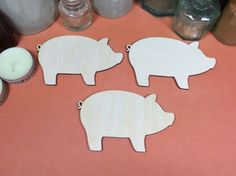 Curly Tailed Pig 10cm - Wooden Curly Tail Pig Shape x 3, Craftshapes