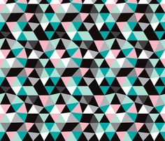Pastel modern geometric triangle pattern LARGE fabric by littlesmilemakers on Spoonflower - custom fabric