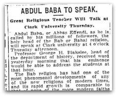 'Abdu'l-Bahá to Speak