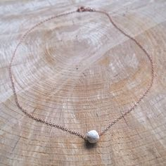 Essential Oil Diffuser Necklace, 18k Rose Gold, Delicate Chain, White Lava Bead Charm, Simple Jewelry, Aromatherapy Pendant, 18 Inch