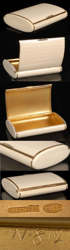 A Fabergé gilded silver and white translucent enamel cigarette case, workmaster August Hollming, St Petersburg, circa 1908-17. White translucent enamel over engine turned waves with rose cut diamond thumb piece.