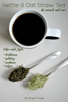 A simple tea made with dried nettles and oatstraw can help cure your nails of brittleness, splitting, and more!