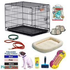 Puppy Dog Package Boy Blue Small - Bed Bowls Brush Collar Crate Leash Toy Treat
