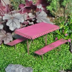 Fairy Garden Picnic Table Fairies and Gnomes often get together and enjoy having a picnic. This is just perfect for them.