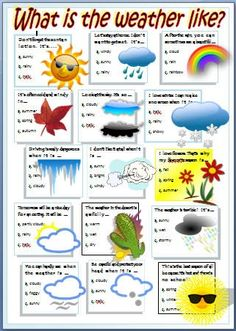 Want to learn about the weather? See if you know the best option and check your answers in the key. Seasons Worksheets, Weather Worksheets, Weather Activities, English Words, English Lessons, Learn English, English Worksheets For Kids, English Activities, Kids Worksheets