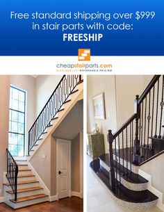 """Ready to renovate your stairs? Take advantage of free shipping when you purchase over $999 at cheapstairpart.com. Use coupon code """"FREESHIP"""" to trigger this promotion.  See all of our products on our website: https://cheapstairparts.com/  #StairRemodel #InteriorDesign #Staircase #StaircaseRemodel #Stairs #IronBalusters"""