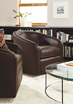 Amos Leather Swivel Chair. Modern Living Room ...