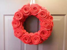 Felt rosette wreath