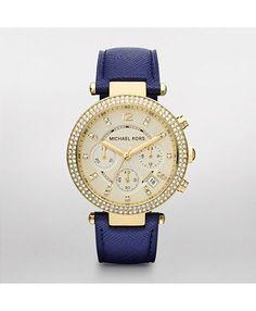 Michael Kors. Parker Gold Tone Glitz Navy Leather Watch. On a navy kick. #watchstation