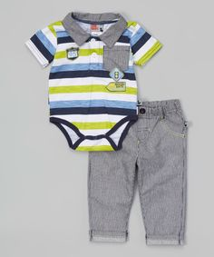 This Green Road Trip Polo Bodysuit & Pants by Duck Duck Goose is perfect! #zulilyfinds