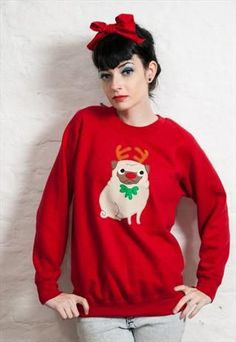 159365dd891 I d like this in my stocking please WOMEN S CHRISTMAS PUG JUMPER   pugclothes Novelty