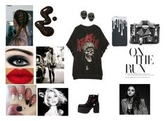 """""""On The Run"""" by dreamerz-dream-on ❤ liked on Polyvore featuring R13, T.U.K., E + J, Max Factor, Moschino and Betsey Johnson"""