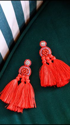 red statement tassel earrings / Coralie Reiter Jewelry