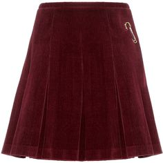 Shrimps Scotty Kilt Pleated Corduroy Wrap Skirt (1.095 BRL) ❤ liked on Polyvore featuring skirts, red, knee length pleated skirt, pleated skirt, red skirt, burgundy skirt and red pleated skirt