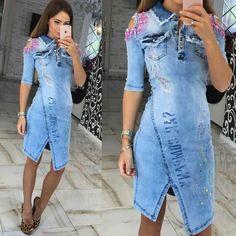 Summer Denim Dress Novelty Asymmetrical Patchwork Half Off the Shoulder Turn-down Collar Knee-Length Women Dress