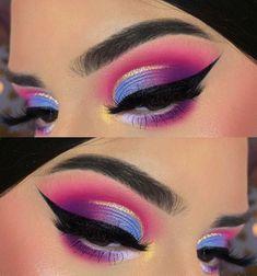 Pink Eye Makeup, Makeup Eye Looks, Colorful Eye Makeup, Eye Makeup Art, Skin Makeup, Eyeshadow Makeup, Beauty Makeup, Simple Eyeshadow, Blue Eyeshadow