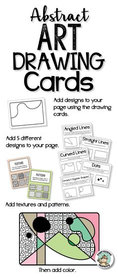 Drawing cards make a great drawing or art center activity.  There are so many other possible uses for these abstract art drawing cards!