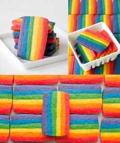 Pretty :)  Rainbow Cookies-Layers of different-colored dough make a big log of rainbow to slice into cute little pieces.