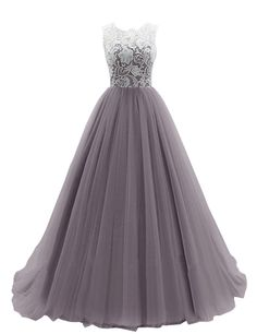 Dresstells® Women's Long Tulle Prom Dress Dance Gown with Lace Grape Size 10