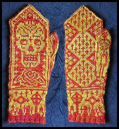 Day Of The Dead Mittens Wow!!! Must knit....