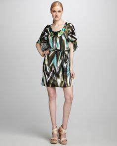 Milly Ikat Print Bead-Neck Swimsuit Cover/Sundress