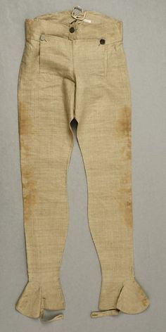 Overalls were a form of extended breeches used largely by military men, but first worn by men in the American frontier. They covered the leg, stockings, and buttoned over shoes, much like spats. They were a practically garment for traveling and walking over rugged terrain, and were quickly adopted by the British army.