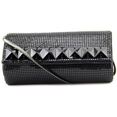 Whiting & Davis Swarovski Squares Flap Clutch Women Evening Bags ($98) ❤ liked on Polyvore featuring bags, handbags, clutches, black, square purse, imitation handbags, whiting davis purse, flap clutch and evening handbags