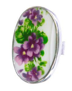 Silver Ring (Viola) with Porcelain by Sagen of Sweden