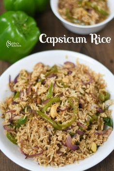 Lunch Box Recipes, Sweets Recipes, Rice Recipes, Indian Food Recipes, Delicious Recipes, Cooking Recipes, Ethnic Recipes, Capsicum Recipes, Flavored Rice
