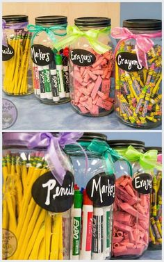 "DIY back to school Mason Jar ""Gift-ables"". Organize classroom supplies in a beautiful, easy-to-see way. Neat teacher gift idea too!"