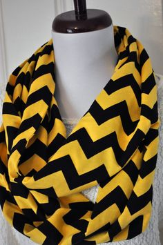 Black and Yellow Chevron Infinity Scarf in Soft by ChickSprings, $22.00