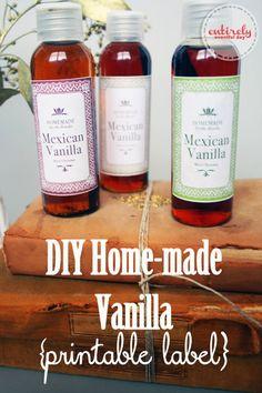 Home-made vanilla recipe and printable/editable label. www.entirelyeventfulday.com #vanillarecipe #printablelabel