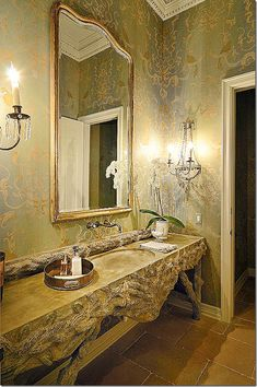 Kara Childress, interior designer  faux bois complemented by wall-mounted faucets, beautiful wallcovering