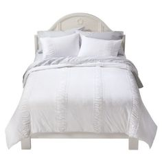 simply shabby chic ruched jersey duvet white...will layer a quilt our grandmother made on top.