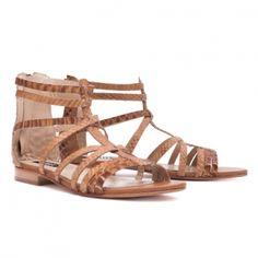 Camel snake flat sandals.