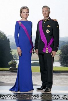 Queen Mathilde and King Philippe of Belgium posing for the official portrait at the Royal Castle in Brussels on 21 July 2013