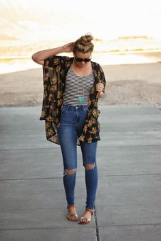 Styles For Less Kimono, ASOS ripped jeans for a casual boho summer look