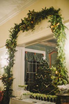Festive winter wedding signature drink table. { #Christmas, martini's, wedding bar, wedding design, December wedding}