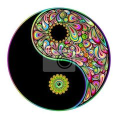 Cuadro /Póster yin yang symbol psychedelic art design-simbolo ...
