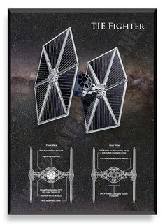 TIE Fighter Poster Star Wars Ship Star Wars by PatentPrintsPosters